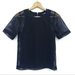 Black Mesh Fishnet Sheer Short Sleeve Top Tee